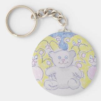 Teddy Bare! Basic Round Button Keychain