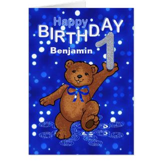 Teddy Bear 1st Birthday for Boy Card