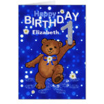Teddy Bear 1st Birthday for Girl Greeting Card