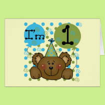 Teddy Bear 1st Birthday Tshirts and Gifts Card