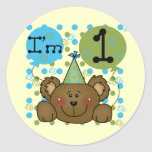 Teddy Bear 1st Birthday Tshirts and Gifts Round Stickers