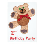 Teddy Bear 2nd Birthday 5x7 Paper Invitation Card