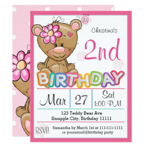 Teddy Bear 2nd Birthday Party Invitation
