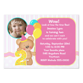 Teddy Bear 2nd Birthday Photo Card