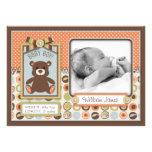 Teddy Bear 3D-look Bow & Button Birth Announcement