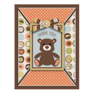 Teddy Bear 3D-look Bow & Button Thank You Postcard