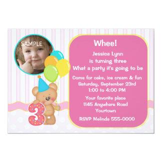 Teddy Bear 3rd Birthday Photo 5x7 Paper Invitation Card