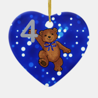 Teddy Bear 4th Birthday for Boy Ceramic Ornament