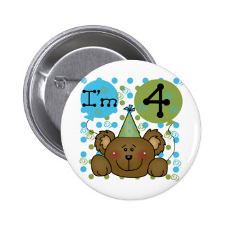 Teddy Bear 4th Birthday T-shirts and Gifts Pinback Button