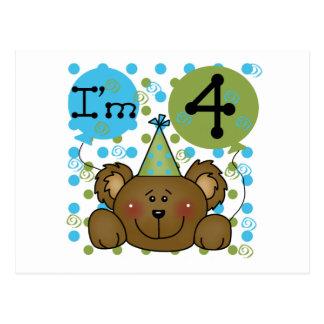 Teddy Bear 4th Birthday T-shirts and Gifts Postcard