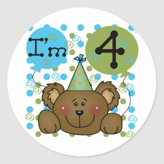 Teddy Bear 4th Birthday T-shirts and Gifts Classic Round Sticker