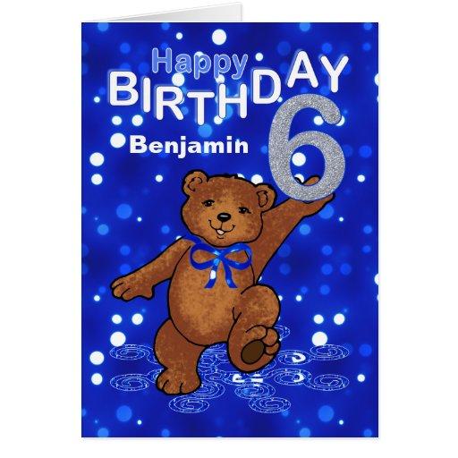 Teddy Bear 6th Birthday for Boy Greeting Cards