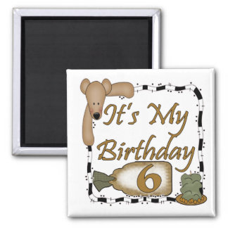 Teddy Bear 6th Birthday Gifts 2 Inch Square Magnet