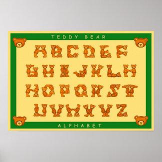 Teddy Bear Alphabet Letters Poster~ABCs Green Poster
