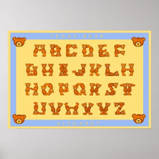 Teddy Bear Alphabet Letters Poster~ABCs Light Blue Poster