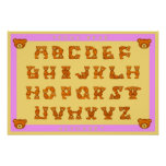 Teddy Bear Alphabet Letters Poster~ABCs Light Pink Poster
