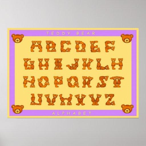 Teddy Bear Alphabet Letters Poster~ABCs Purple Poster