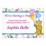 Teddy Bear and Balloons 5x7 Paper Invitation Card