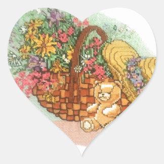 Teddy Bear and Basket of Flowers: Heart Sticker
