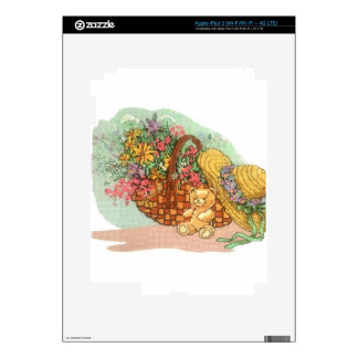 Teddy Bear and Basket of Flowers: iPad 3 Skin