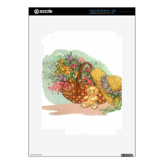 Teddy Bear and Basket of Flowers: Skins For iPad 2
