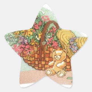 Teddy Bear and Basket of Flowers: Star Sticker