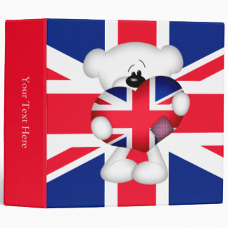 Teddy Bear and Big Union Jack Heart 3 Ring Binder