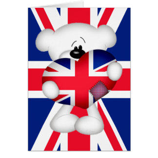 Teddy Bear and Big Union Jack Heart Greeting Cards