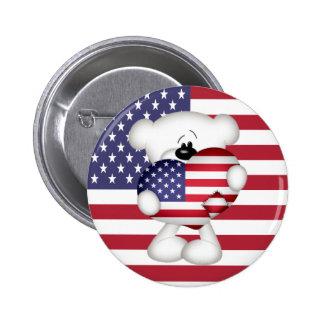 Teddy Bear and Big USA Flag Heart Buttons