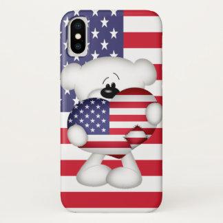 Teddy Bear and Big USA Flag Heart iPhone X Case