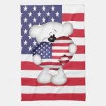 Teddy Bear and Big USA Flag Heart Kitchen Towel