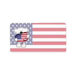 Teddy Bear and Big USA Flag Heart Label