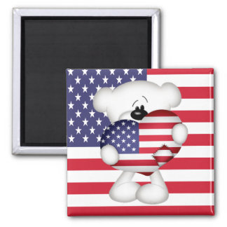 Teddy Bear and Big USA Flag Heart Magnet
