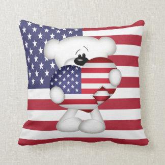 Teddy Bear and Big USA Flag Heart Pillow