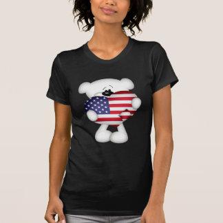 Teddy Bear and Big USA Flag Heart T-Shirt