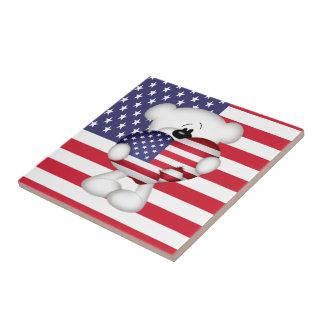 Teddy Bear and Big USA Flag Heart Small Square Tile
