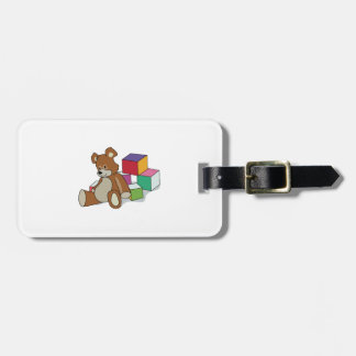 TEDDY BEAR AND BLOCKS TAG FOR BAGS