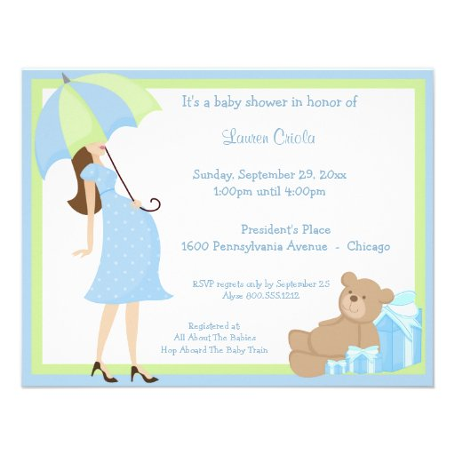 teddy bear and blue gift baby shower invitation x 5 5