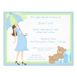 Teddy Bear And Blue Gift Baby Shower Invitation