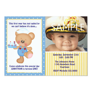 Teddy Bear and Boat Photo First Birthday Personalized Announcement