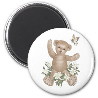 Teddy Bear and Butterfly 2 Inch Round Magnet