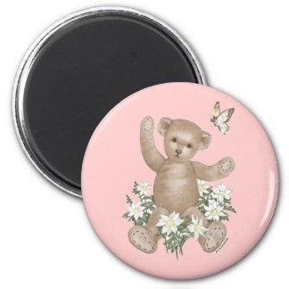 Teddy Bear and Butterfly Refrigerator Magnet