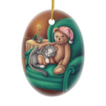 Teddy Bear and Cat Ornament Christmas Tree Ornaments
