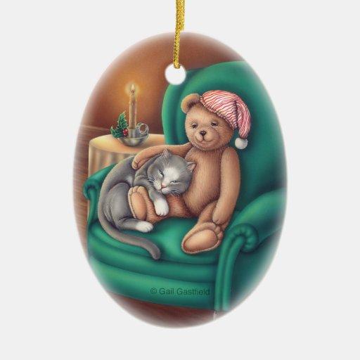 Teddy Bear and Cat Ornament Christmas Tree Ornaments