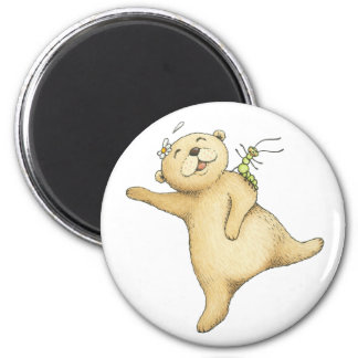 Teddy Bear And Centipede Dancing 2 Inch Round Magnet