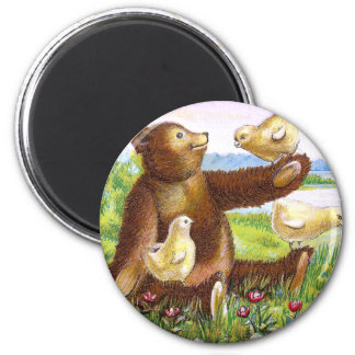 Teddy Bear and Chicks Vintage Easter Magnet