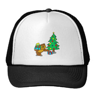 Teddy Bear and Christmas Tree Trucker Hat