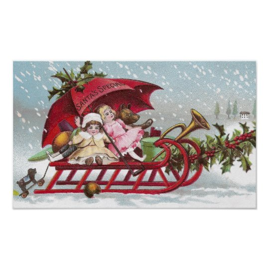 Teddy Bear and Dolls on Sled Vintage Christmas Poster