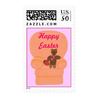 Teddy Bear and Egg, Happy Easter Stamps