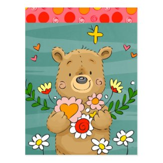Teddy Bear and Flower Bouquet Valentine Postcard
